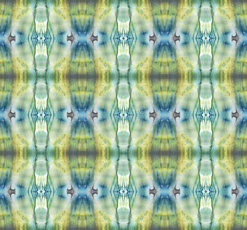 Heldere symmetrische verticale achtergrond Blauw, grijs, groen, wit en geel pigment Het abstracte waterverf schilderen Naadloze p stock foto's