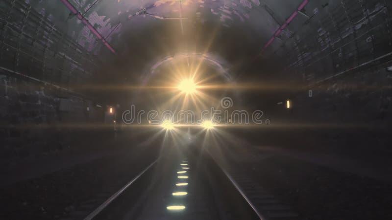 Heldere treinlichten die naar de camera komen in een donkere spoorwegtunnel stock foto