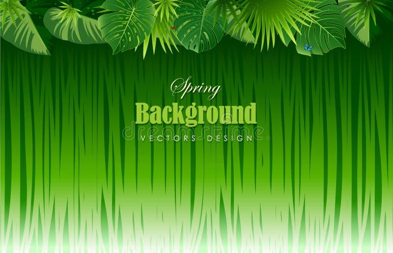 Heldere tropische achtergrond met wildernisinstallaties Exotische patroonwi vector illustratie