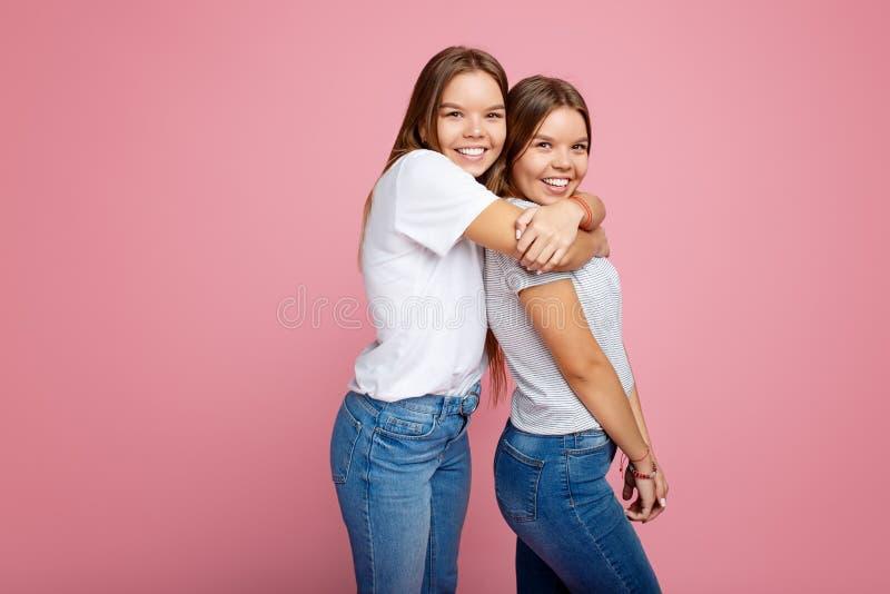 Heldere twee jonge tweelingzusters met mooie glimlachgang over roze achtergrond stock fotografie