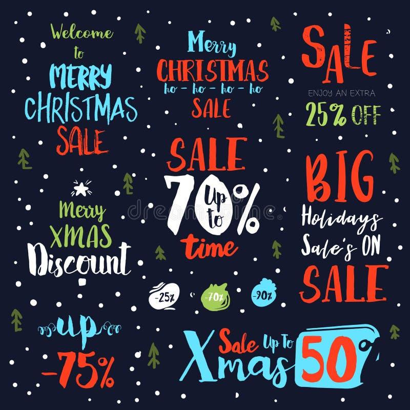 Heldere uitstekende de tekstetiketten van de Kerstmisverkoop stock illustratie