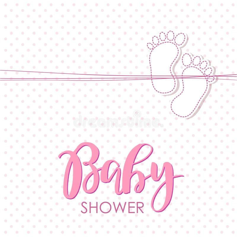 Heldere van de de aankomstkaart van het babymeisje de doucheuitnodiging stock illustratie