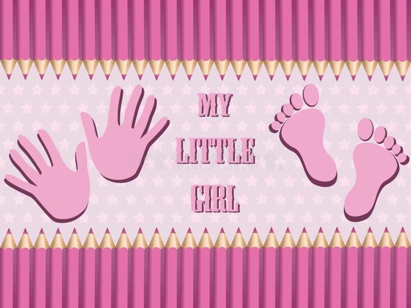 Heldere van de de aankomstkaart van het babymeisje de doucheuitnodiging vector illustratie