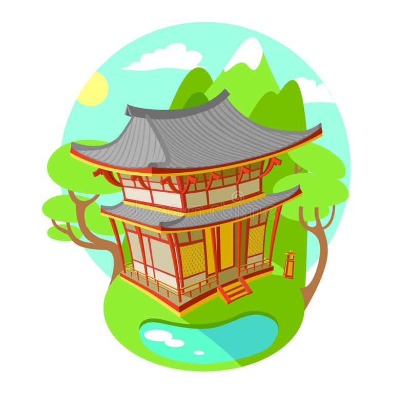 Heldere vector vlakke illustratie Aziatische traditionele architectuur Het gebouw is in de bergen en de meren zonnig vector illustratie