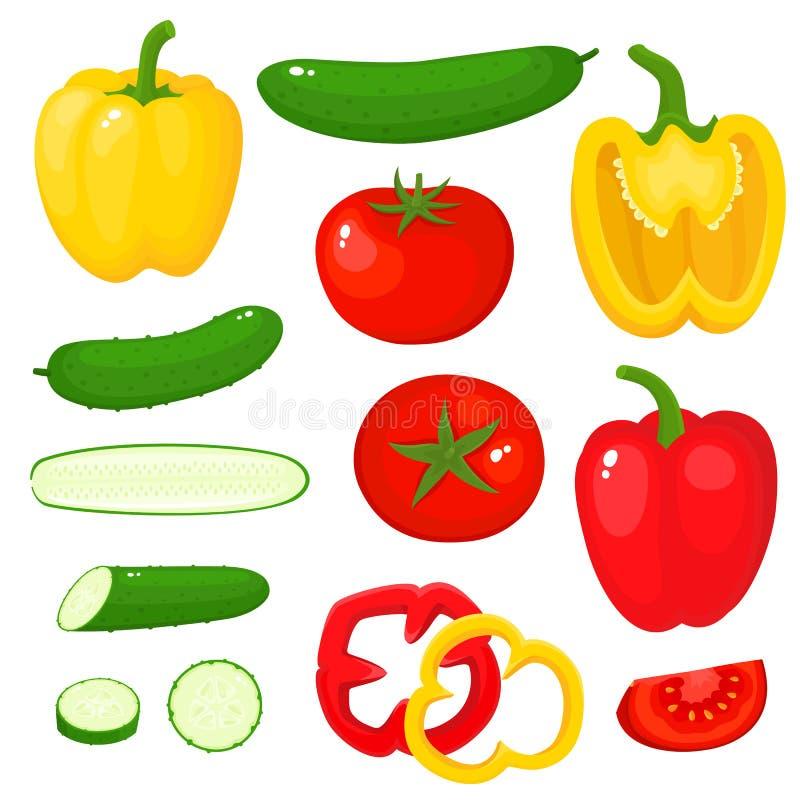Heldere vectordieillustratie van peper, tomaat, komkommer op wit wordt geïsoleerd stock illustratie
