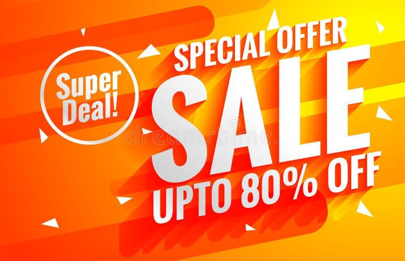 Heldere verkoopaffiche als achtergrond in oranje kleur stock illustratie