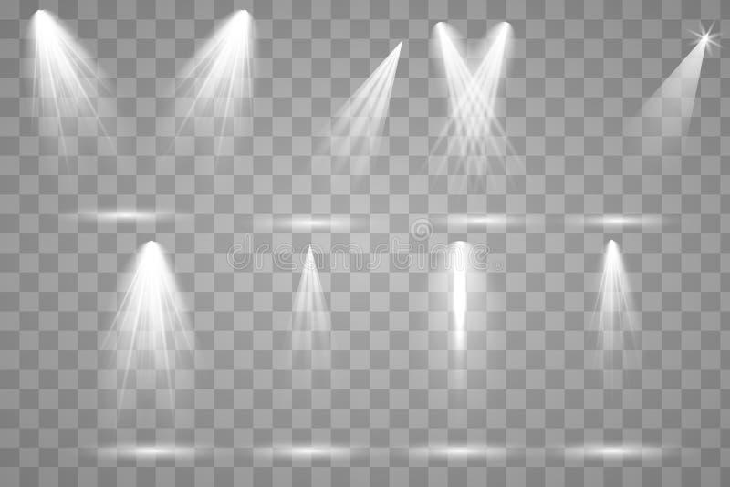 Heldere verlichting met schijnwerpers stock illustratie
