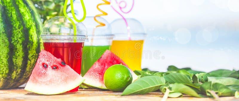 Heldere Verse gezonde sappen, fruit, ananas, watermeloen op de achtergrond van het overzees De zomer, rust, gezonde levensstijl royalty-vrije stock fotografie