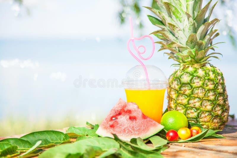 Heldere Verse gezonde sappen, fruit, ananas, watermeloen op de achtergrond van het overzees De zomer, rust, gezonde levensstijl royalty-vrije stock afbeeldingen