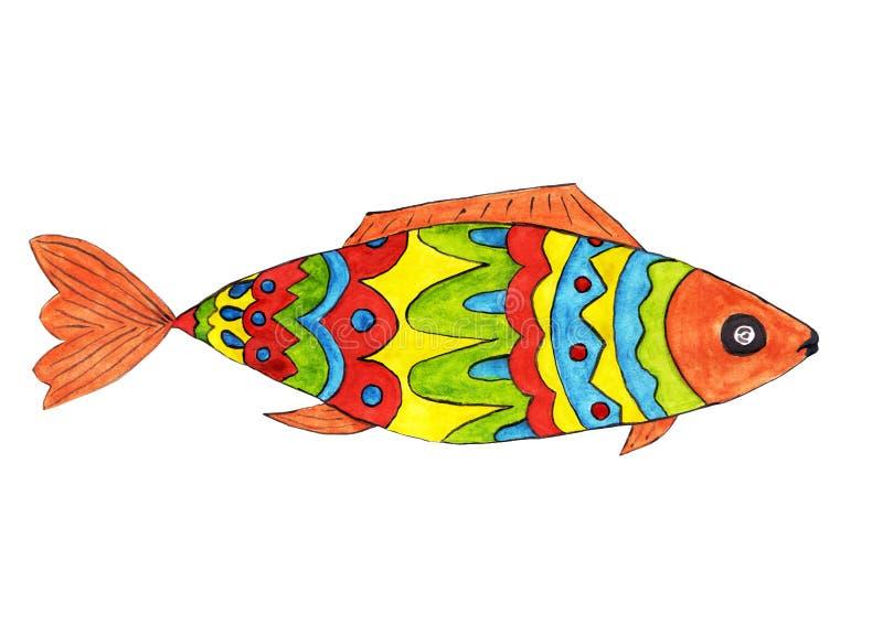 Heldere Vissen in rode, blauwe, gele, groene kleuren stock afbeelding