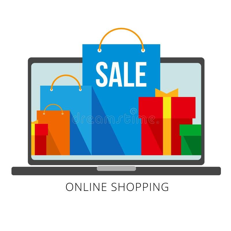 Heldere vlakke het winkelen zakken en dozen op laptop het scherm en bij de voorzijde stock illustratie