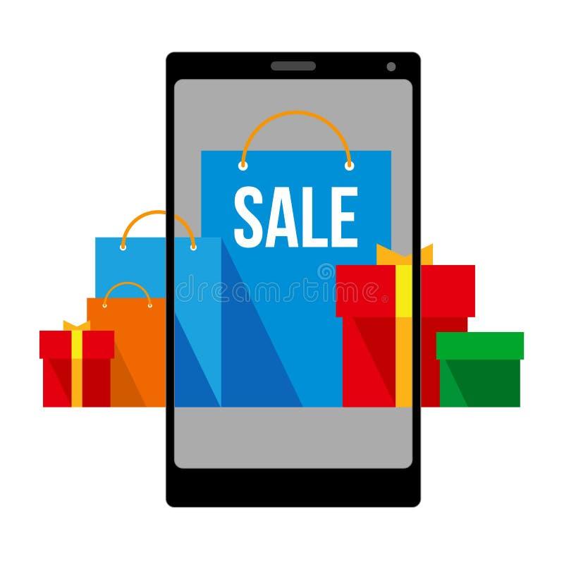 Heldere vlakke het winkelen zakken en dozen op het smartphonescherm en rond vector illustratie