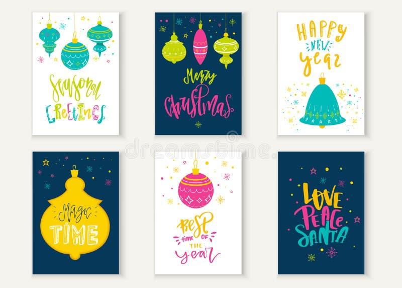 Heldere Vrolijke geplaatste Kerstmis typografische van letters voorziende kaarten Vectorembleem, tekstontwerp Kan voor banners, g royalty-vrije illustratie