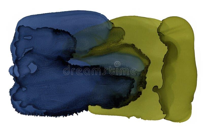 Heldere waterverfachtergrond Abstracte inkttextuur Affiche of verpakkingsachtergrond Blauw en gree binnenlandse druk royalty-vrije illustratie