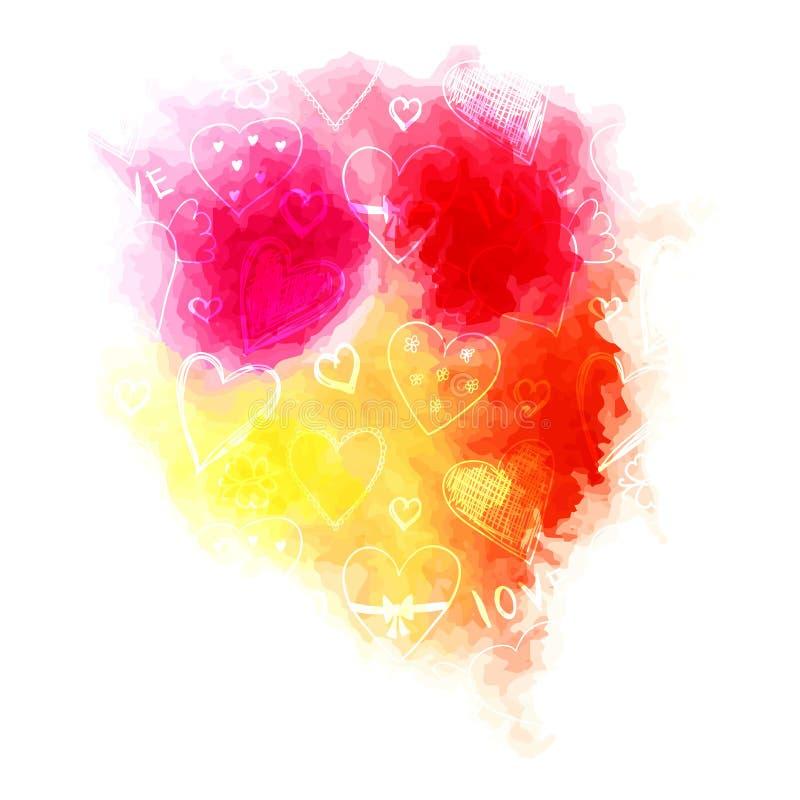 Heldere waterverfplons met leuk hart en bloemenpatroon stock illustratie