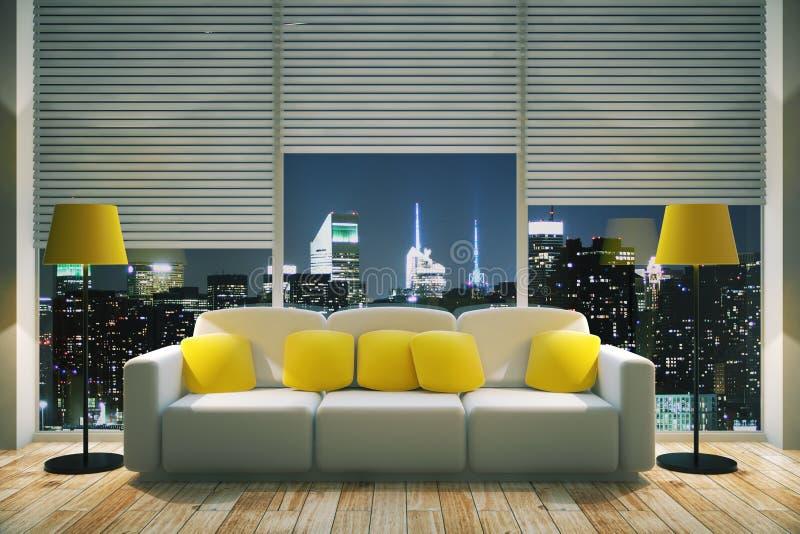 Heldere woonkamer bij nacht stock illustratie