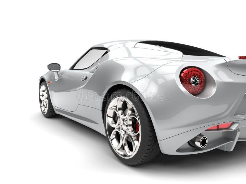 Heldere zilveren luxesportwagen - schot van de staart het lichte close-up stock illustratie