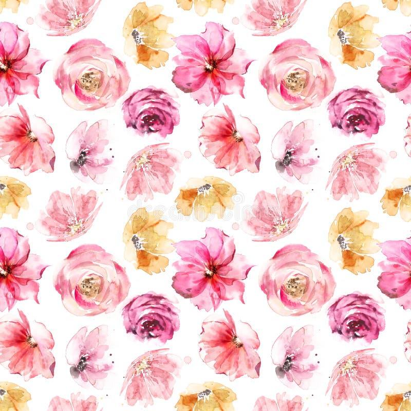 Heldere zomerbloemen naadloos patroon Roze en gele kleur Fijne retro-design royalty-vrije stock fotografie