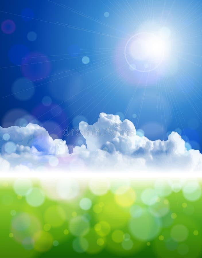 Heldere zon, duidelijke hemelen, wolken, groen gras vector illustratie