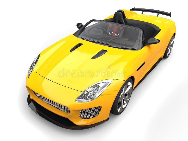 Heldere zon gele stedelijke convertibele sportwagen - schoonheidsschot stock illustratie