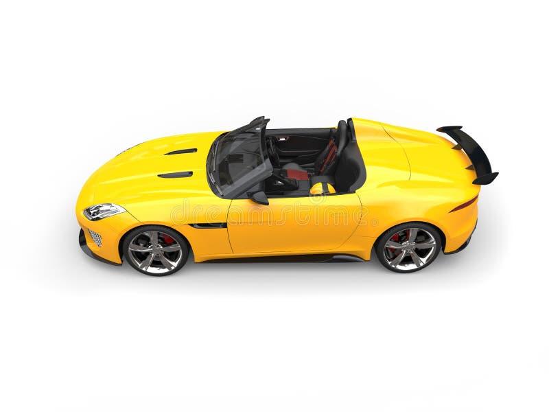 Heldere zon gele stedelijke convertibele sportwagen - top down zijaanzicht royalty-vrije illustratie