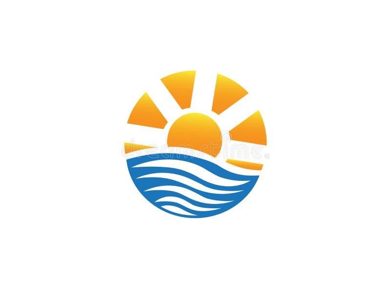 Heldere zon op overzeese golven voor de illustratie van het embleemontwerp op een witte achtergrond stock illustratie