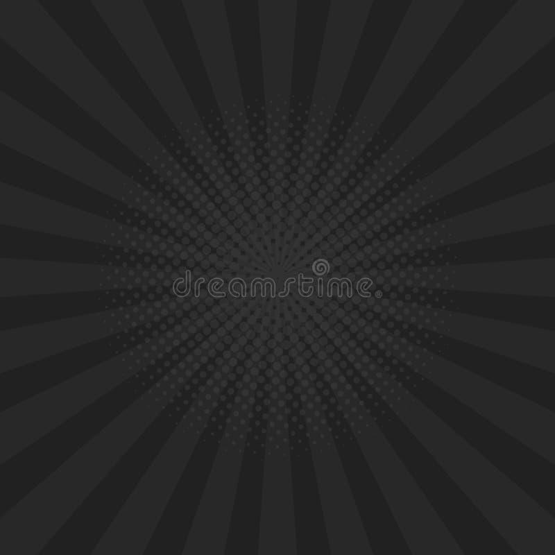 Heldere zwarte stralenachtergrond Strippagina, pop-artstijl Vector vector illustratie