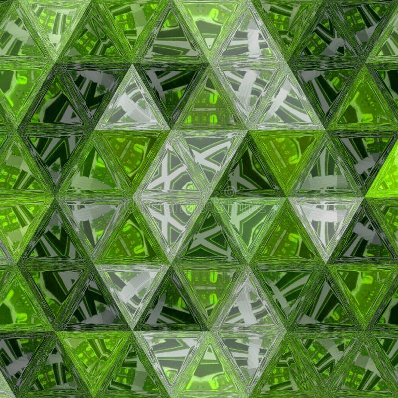 Heldergroen buitengewoon geometrisch ononderbroken patroon van driehoekenmozaïek stock foto