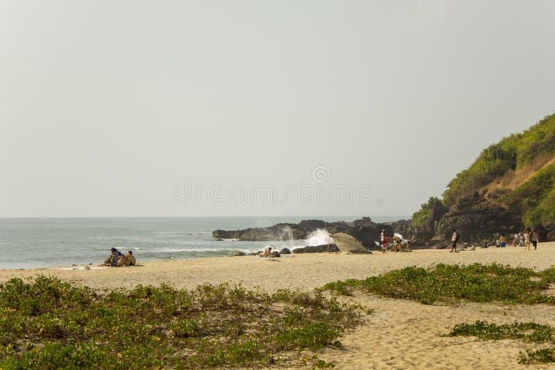 Heldergroen gras op een zandig strand met rustende mensen op de achtergrond van een rots en de oceaan stock foto