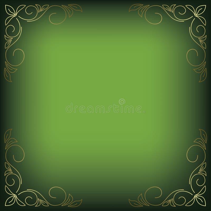 Heldergroene achtergrond met bloemendecor stock illustratie