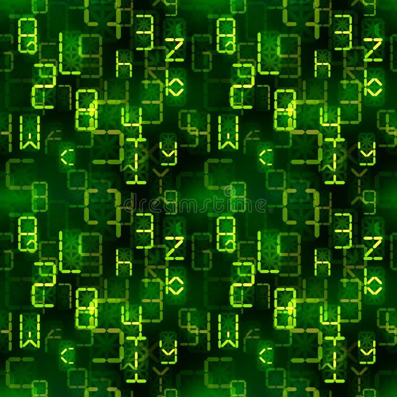 Heldergroene digitale retro elektronische geleide tekens op donker, ingewikkeld berekeningen naadloos patroon stock illustratie
