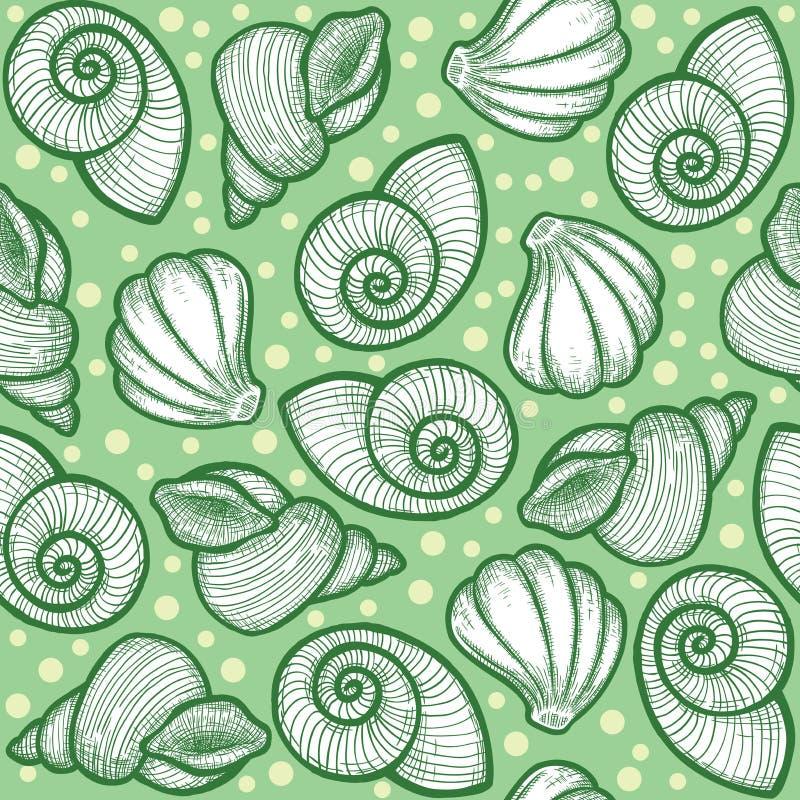 Heldergroene textuur met shells stock illustratie