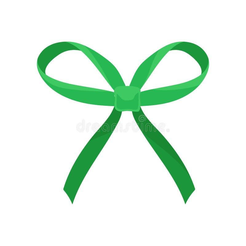 Heldergroene zijdeboog met grote lijnen en lange einden Haartoebehoren voor meisje Decor voor giftdoos Vlak vectorpictogram royalty-vrije illustratie