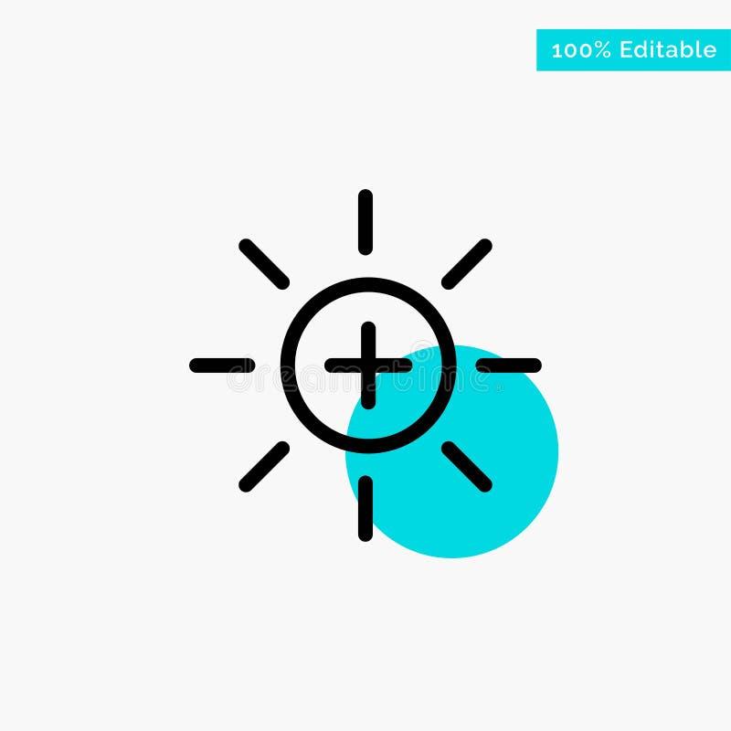 Helderheid, Interface, Ui, van het de cirkelpunt van het Gebruikers het turkooise hoogtepunt Vectorpictogram royalty-vrije illustratie