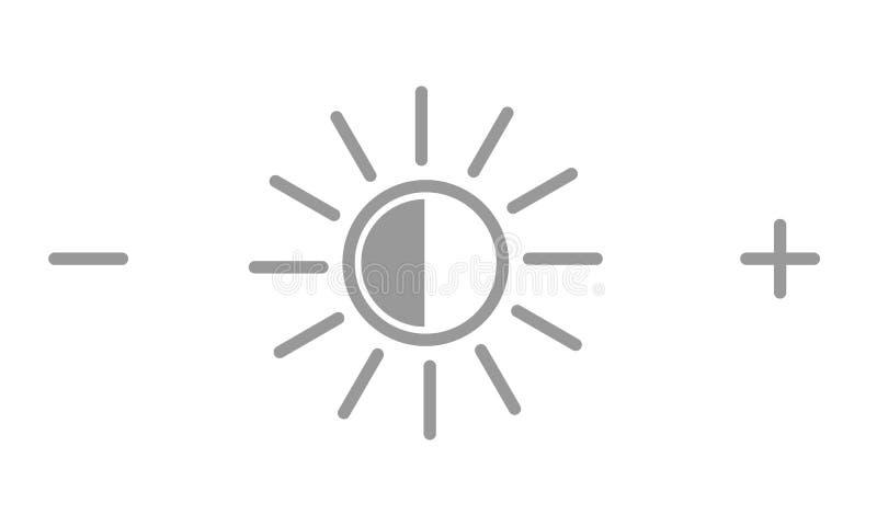 Helderheidspictogram of symbool Zon met plus en minus pictogrammen Vector illustratie stock illustratie