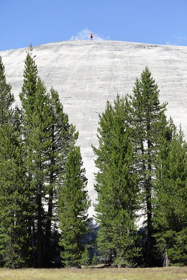 Heldmann, der Gipfel auf Berg erreicht lizenzfreies stockbild