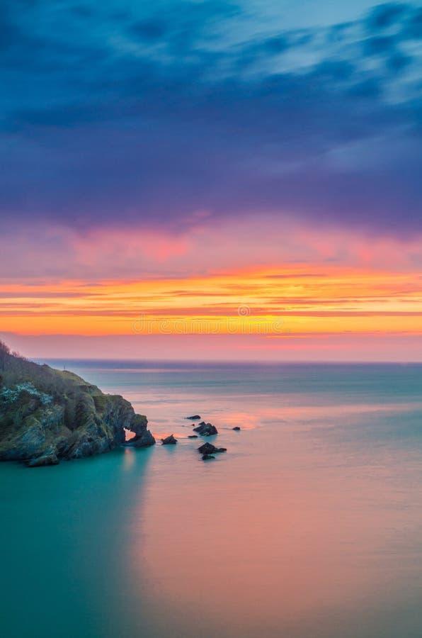 Hele-Bucht nach Sonnenuntergang stockfotografie