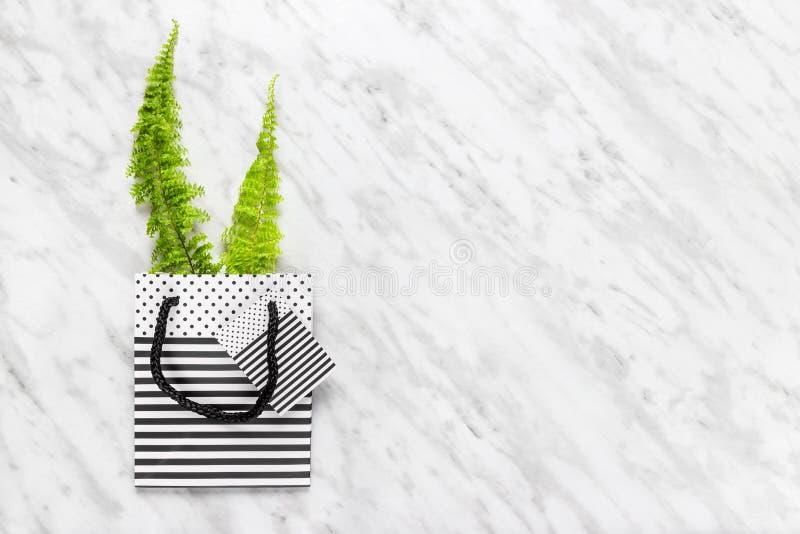 Helecho verde en un bolso rayado del regalo en el fondo de mármol imagen de archivo