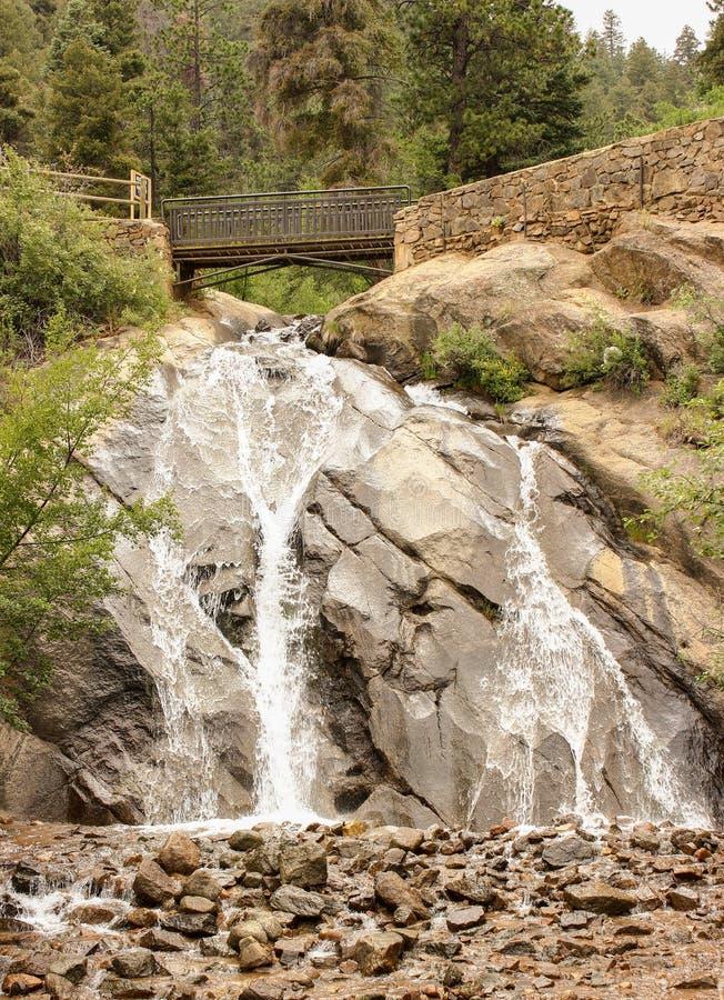 Helen Hunt Falls. And bridge overlooking in Colorado Springs, Colorado royalty free stock photo
