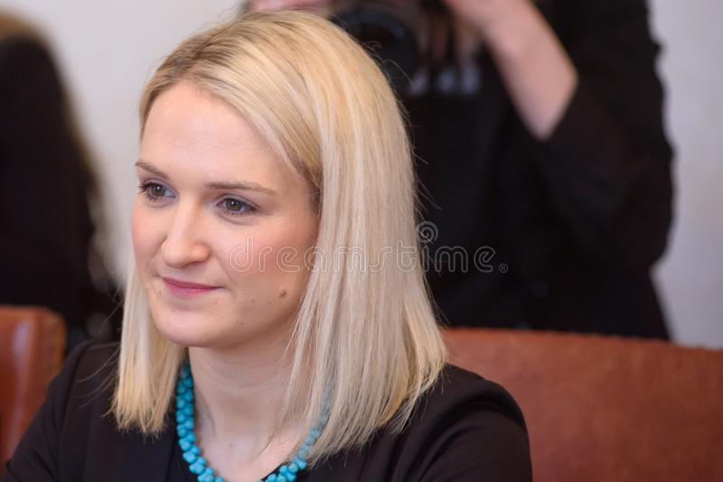 Helen McEntee Minister para los asuntos europeos de Irlanda fotografía de archivo libre de regalías