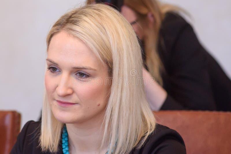 Helen McEntee Minister para los asuntos europeos de Irlanda fotografía de archivo