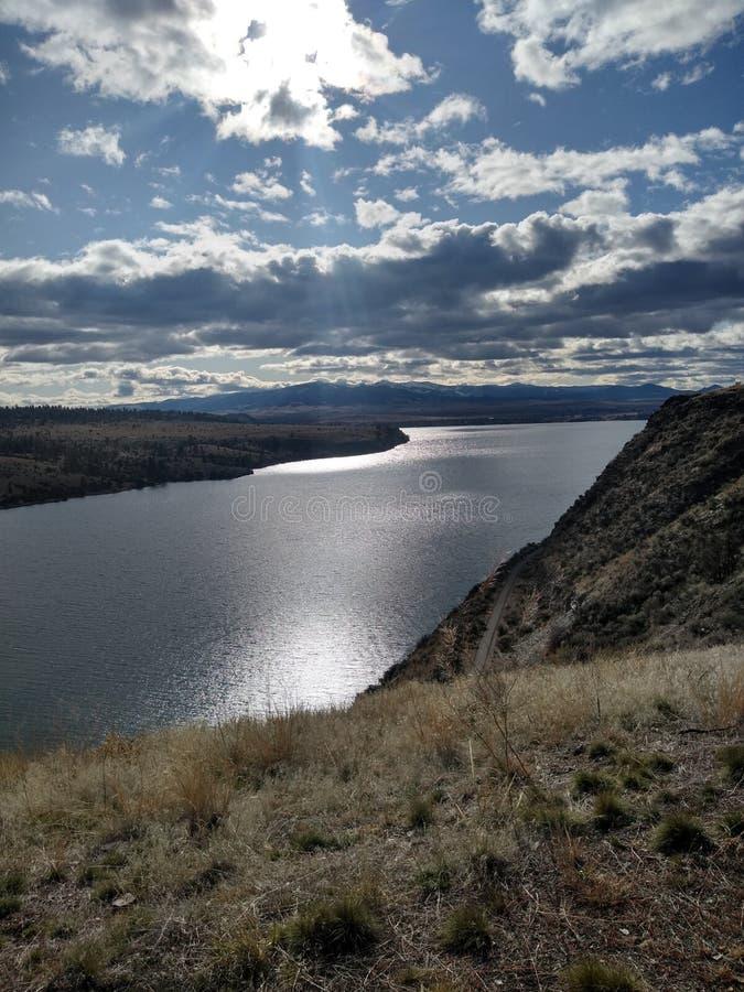 Helena, Montana beautiful lake with the sun shining down royalty free stock image