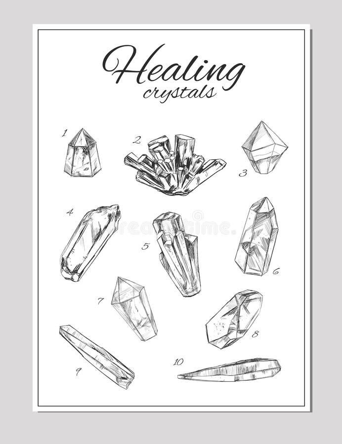Helende Kristallen Vector getrokken hand vector illustratie