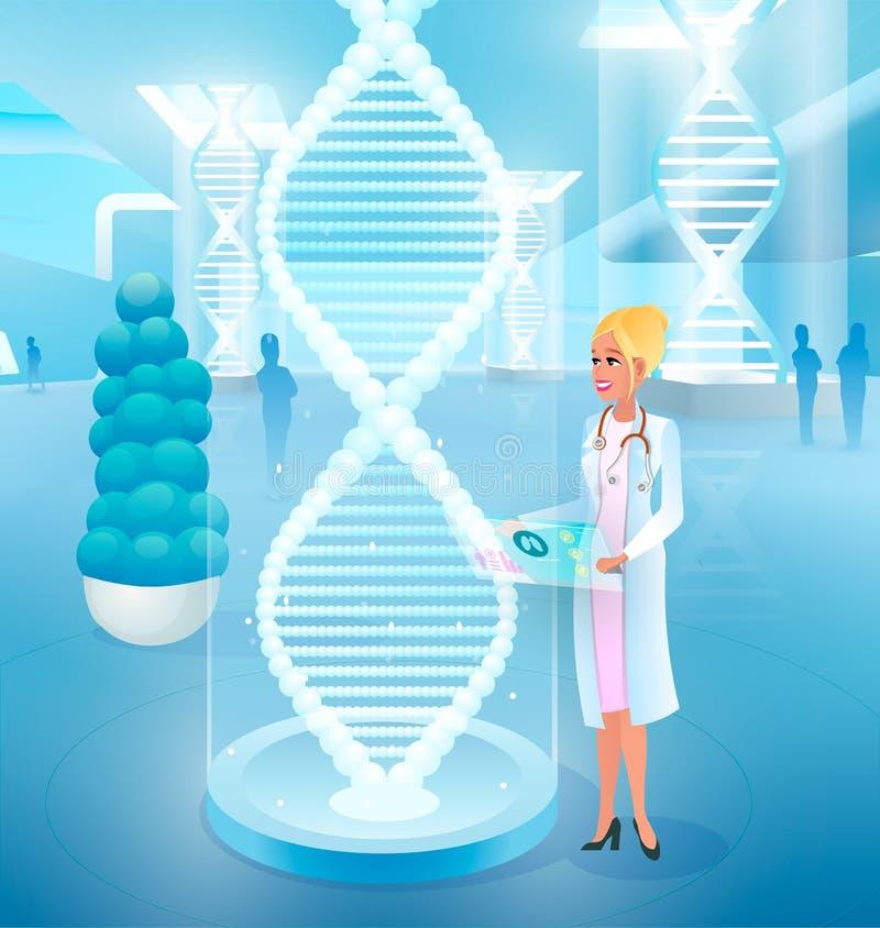 Helende Ziekten met het Uitgeven van het Vectorconcept van DNA stock illustratie