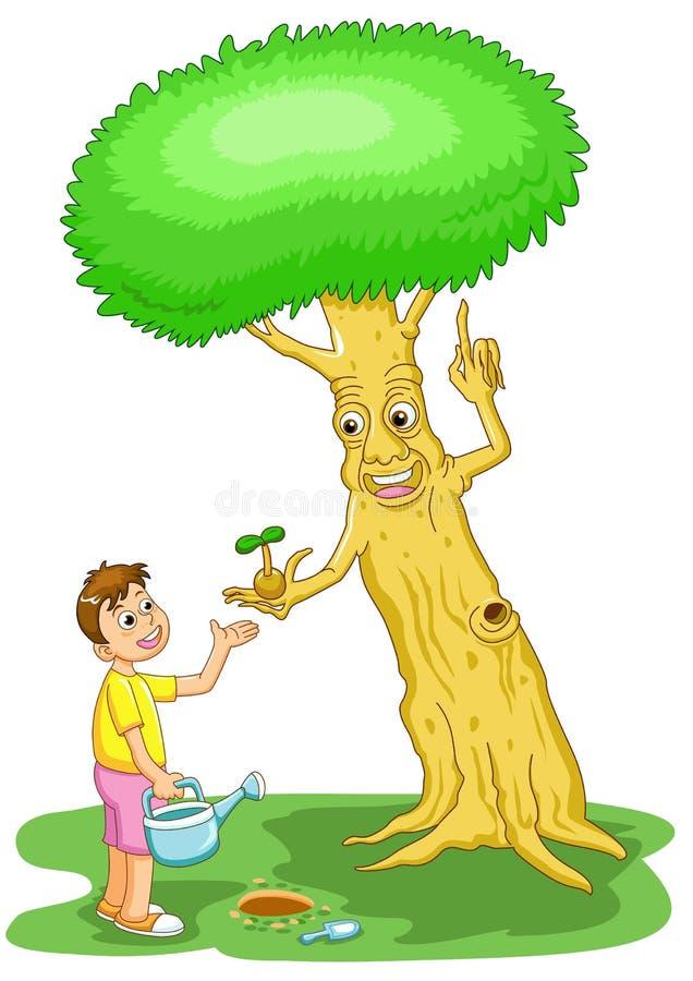 Helfen Sie dem Baum außer der Welt vektor abbildung