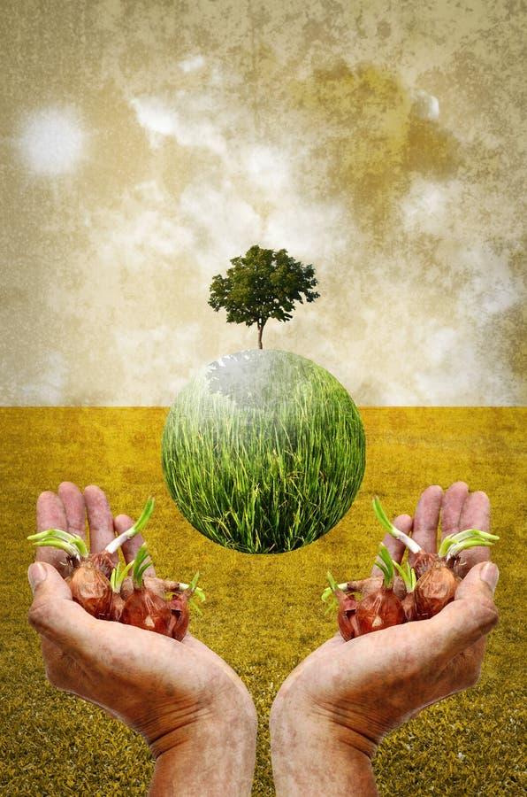 Helfen Sie der Erde, indem Sie Baum pflanzen lizenzfreies stockbild