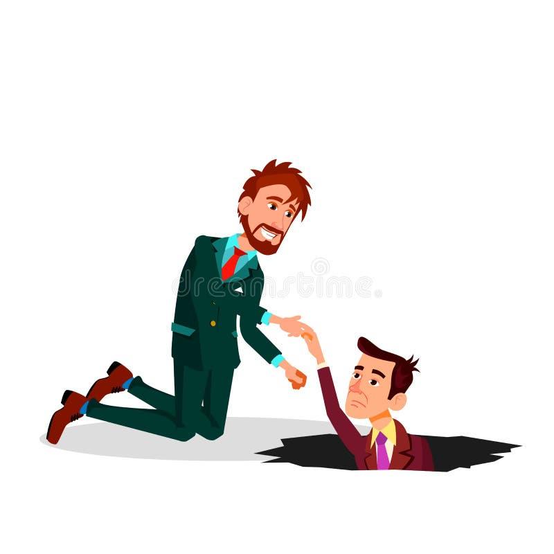Helfen Sie einem Kollegen Ein Geschäftsmann Pulling Colleague From Pit Vector Flat Cartoon Illustration stock abbildung