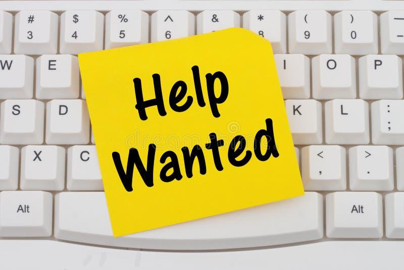 Helfen Sie gewünschter Internet-Anwendung, Computertastatur und klebrigem n stockbild