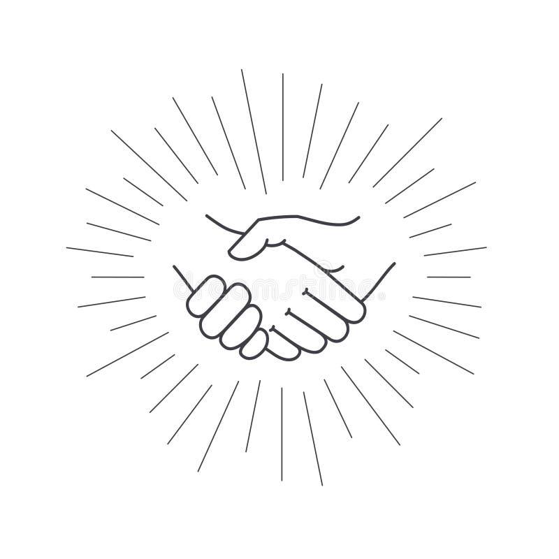 Helfende Hand Vektorikone der Vertragsvereinbarung vektor abbildung