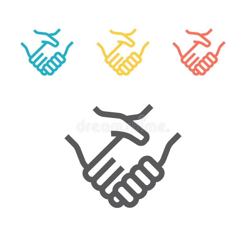 Helfende Hand Vertragsvereinbarungslinie Kunstvektorikone für Apps und Website vektor abbildung